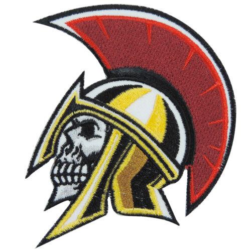 Skull Mohawk Skinhead 300 Punk Rocker Spartan Roman Helmet Iron-On Patch #SK022