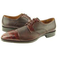 Lorens santo Alligator Cap Toe Derby, Men's Dress Leather Shoes, Oxfords 9us