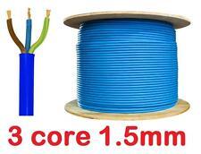 BLUE Arctic 13a 16a Mains 3 Core 1.5mm Flex Cable Outdoor Wire  sold per metre