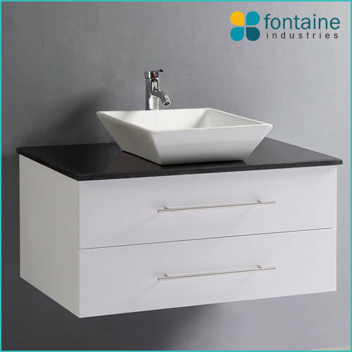 Bathroom Vanity White Wall Hung Ceramic Basin Black Stone Top 900 NEW
