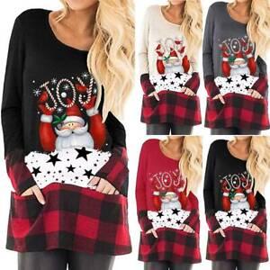 Senora-navidad-manga-larga-camisa-jersey-Jumper-cuello-redondo-longtop-LONGSHIRT-sueter