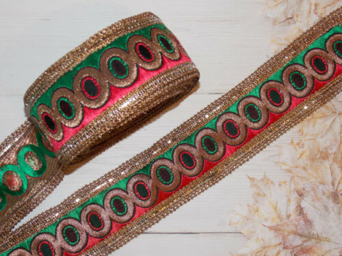 6cm green red crystal embroidered ribbon BRAID applique trimming xmas