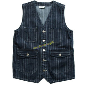 Striped-Denim-Cowboy-Vest-Men-039-s-Vintage-Multi-pocket-Work-Sleeveless-Waistcoat
