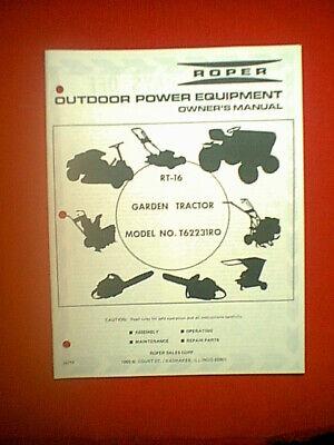 [SCHEMATICS_4ER]  ROPER (SEARS) RT-16 GARDEN TRACTOR MODEL T62231RO OWNER / PARTS MANUAL    eBay   Roper Tractor Wiring Diagram      eBay
