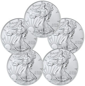 2017 1 Troy oz American Silver Eagle Lot of 5 Coins SKU44363
