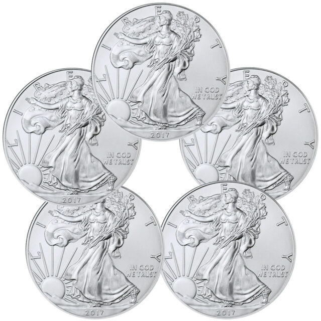 2017 1 Troy oz. American Silver Eagle - Lot of 5 BU Coins SKU44363