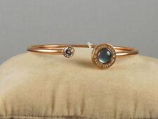 Michael Kors Rose Gold LOGO MOP CZ Gray Mother of Pearl Cuff Bracelet MKJ5868