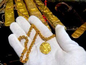 Spain-1-Escudo-1516-56-Pendant-Pirate-Gold-Coins-Jewelry-Treasure-Necklace-Cob