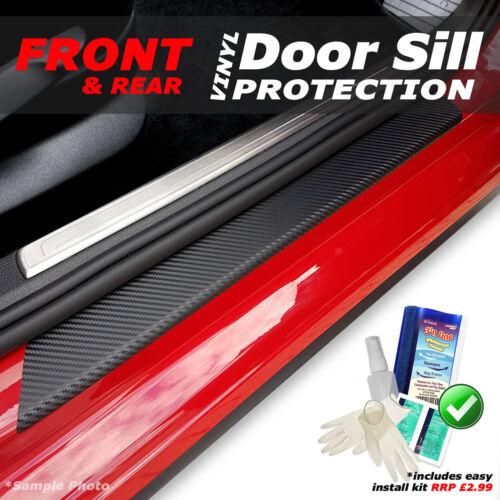 Vauxhall Corsa D 5DR 2006-2015 4PC Black Carbon Vinyl Door Sill Protectors K