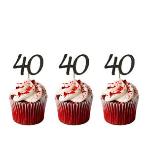 40th-Birthday-Cupcake-Toppers-Number-40-Party-Glittery-Black-Pack-of-10