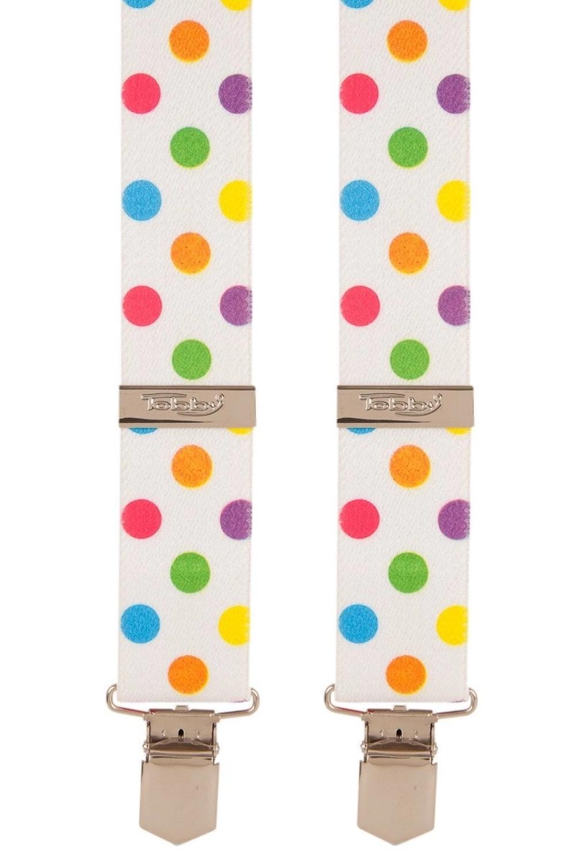 Polka Dot Trouser Braces   Multicoloured   X-Style   Metal Clips