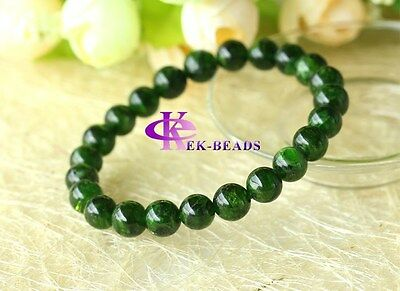 Wholesale Genuine Natural Green Chrome Diopside Round Beads Stretch Bracelets