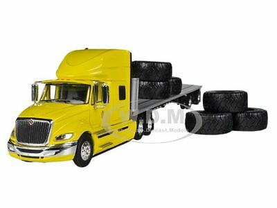 INTERNATIONAL PROSTAR+ YELLOW WITH 48' FLATBED TRAILER 1/64 FIRST GEAR 60-0245