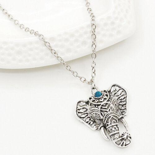 Cute Vintage Silver Elephant Pendant Chain Choker Charm Necklace Boho Jewelry