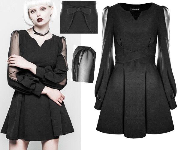Robe gothique lolita victorien soirée glamour plissé ceinture noeud PunkRave