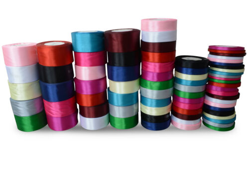 SATIN RIBBON 22m//25yards DOUBLE SIDED for Crafts Decoration 6 10 16 25 38 50 MM