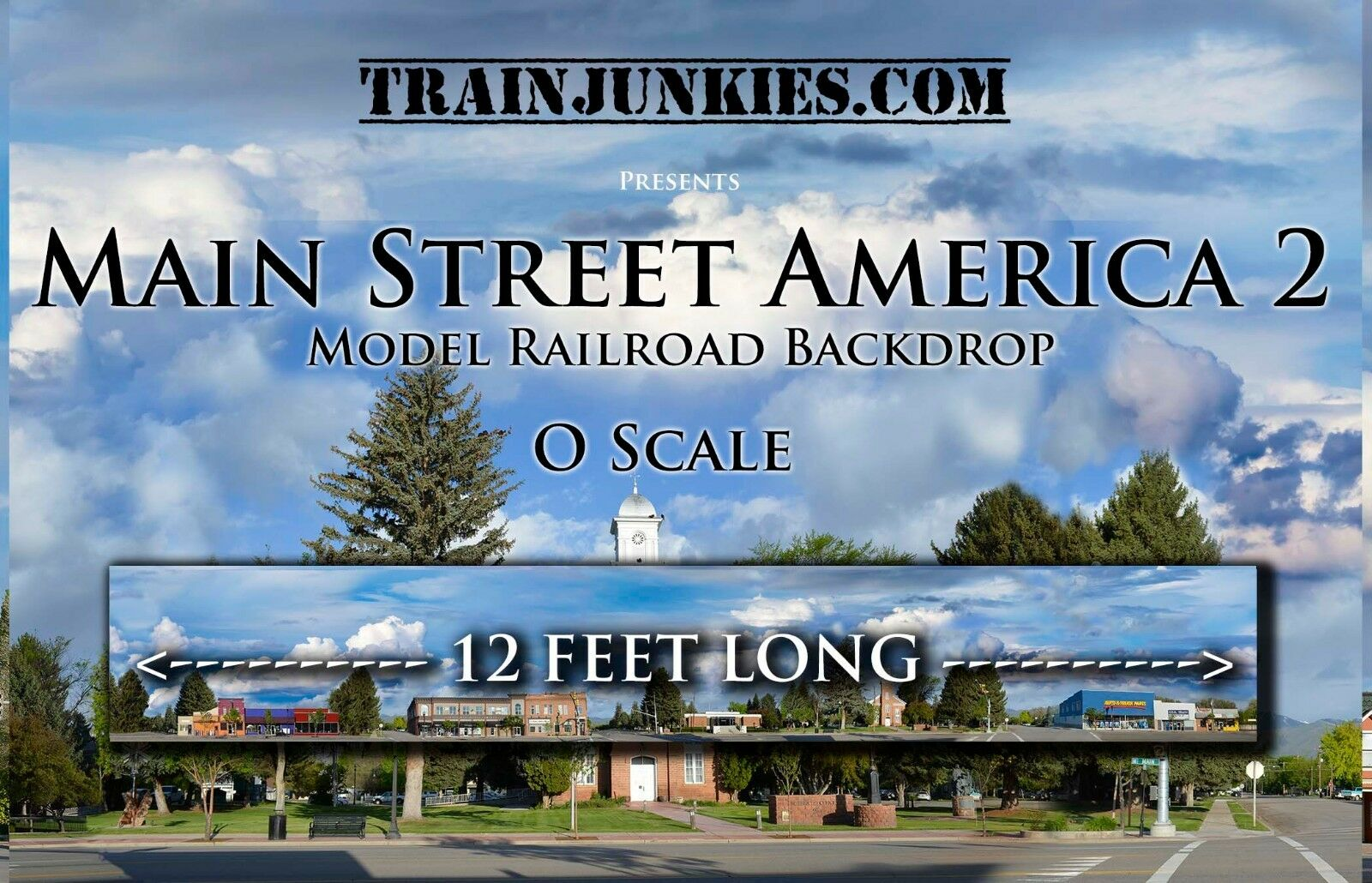Trainjunkies o escala  Main Street America 2  modelo del ferrocarril telón de fondo 24x144