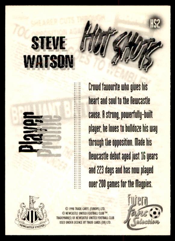 Futera Newcastle United Fans /'Selection 1999-Steve Watson Hot Shots #HS2