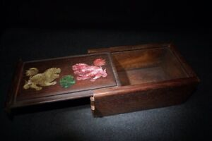 Collect noble Boxwood Inlay Conch lion Usable Precious Mechanism Secret Box