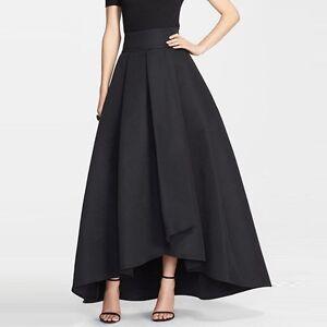 New Black High-Low Satin Skirts women ladies Floor Length Fashion ... da39ea0f0