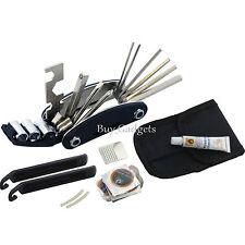 BICICLETTA CICLISMO Puncture BICI Multi Funzione Strumento Riparazione Kit Set con Custodia