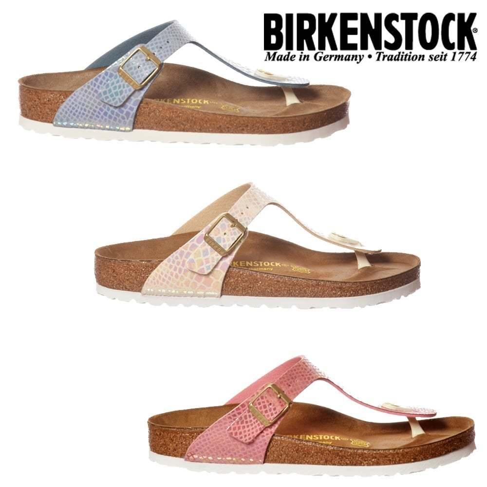 Damen Mädchen Birkenstock Gizeh glänzend Schlange Design Standard PASSUNG