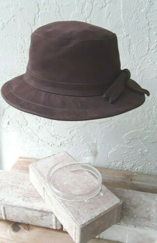 HERMES France BROWN Calfskin SUEDE BUCKET Hat Siz… - image 1