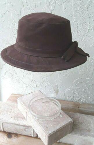 HERMES France BROWN Calfskin SUEDE BUCKET Hat Size