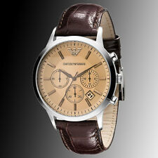 Authentic Emporio Armani AR-2433, Brown Strap Champagne Dial Men's Watch