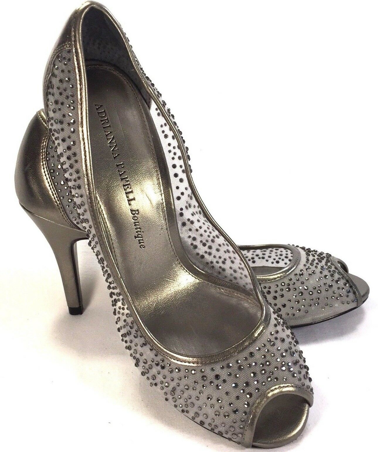 Adrianna Papell Boutique Silvery Peep Toe Jeweled Pumps Size 8-1 2M shoes
