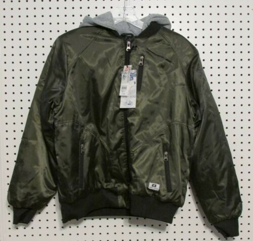 Swiss Cross Boys/' Padded Bomber Jacket With Hood Olive Size Large 14-16