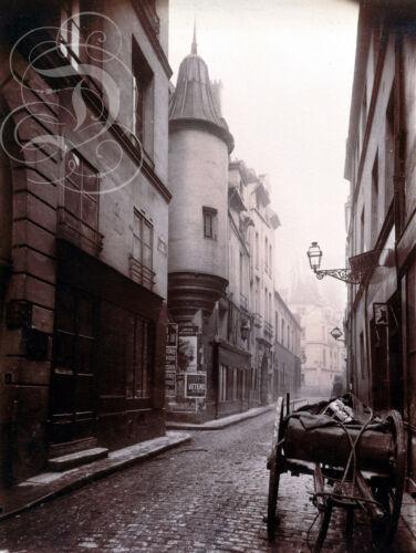 PLAQUE ALU REPRODUISANT UNE PHOTO EUGENE ATGET RUE HAUTEFEUILLE PARIS 6EME 1898