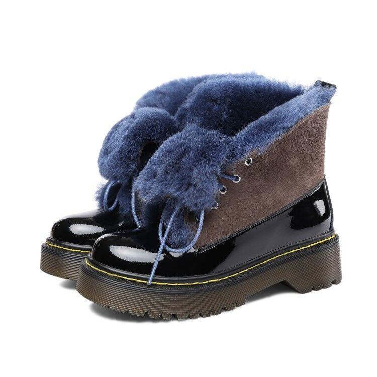 Moda Mujer Cuero Invierno botas Con Cordones Cuero Mujer Real Cálido Forro De Piel botas De Nieve 2946b1