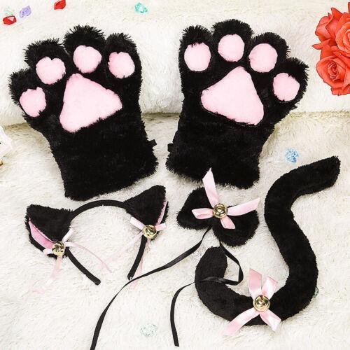 Anime Cosplay Maid Neko Cat Paw Claws Girls Soft Plush Gloves Tie Ear Tail