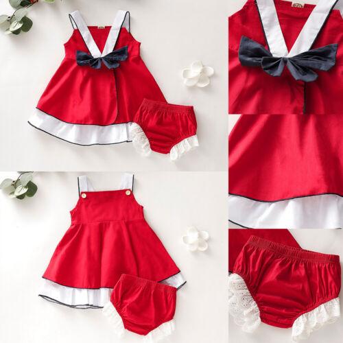 Newborn Baby Girl Solid Slip Dress+Shorts Pants Christmas Party 2Pcs Outfits Set