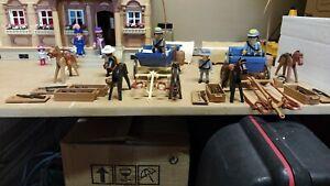 Playmobil western chariot confédérés 3785 sudiste cowboy coffre chevaux tonneau