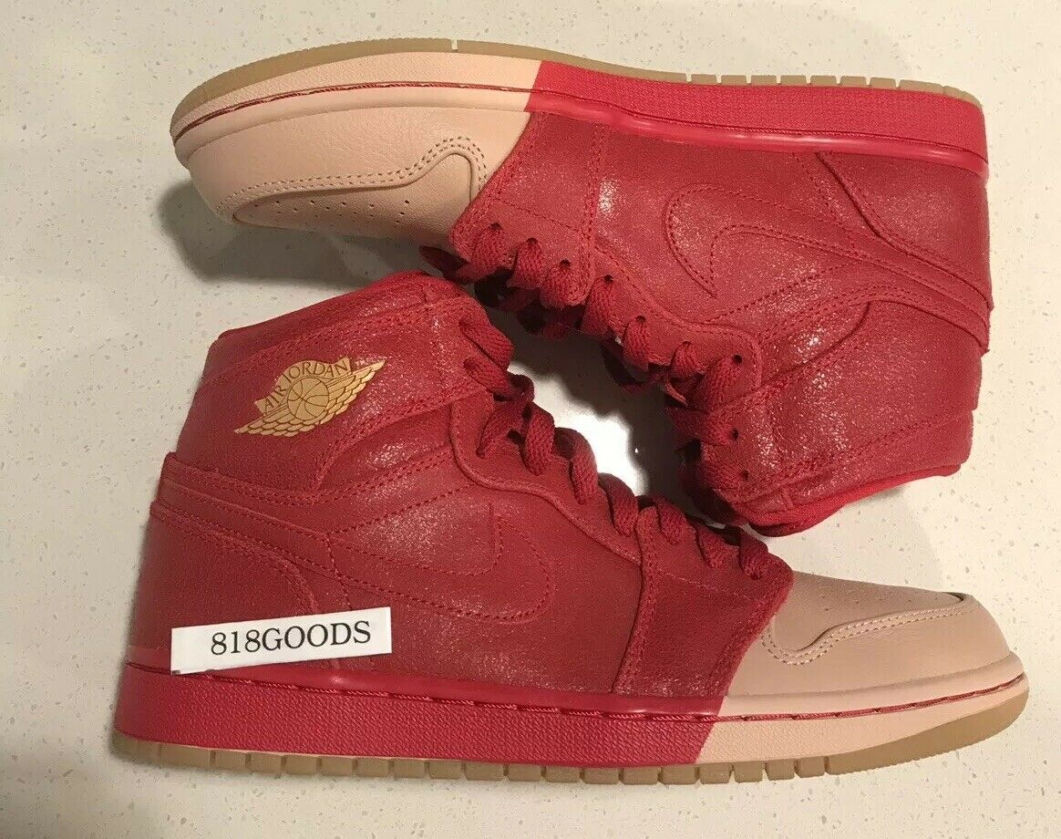Nike Air Jordan Retro 1 I Premium Red Dipped Womens 9 7.5 Youth New Valentine's