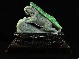 """12,4"""" jade émeraude naturel jadéite  Feng Shui Statue du zodiaque chinois Tigre"""