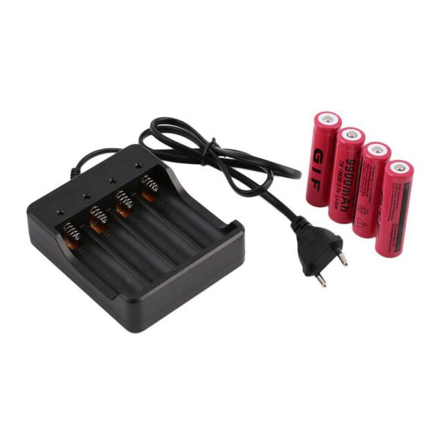 4pcs 18650 3.7V 9900mAh Li-ion Rechargeable Battery + EU Charger Indicator WA