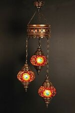 Chandelier Ceiling Lights Turkish Lamps Hanging Mosaic Pendant Red Stained Glass