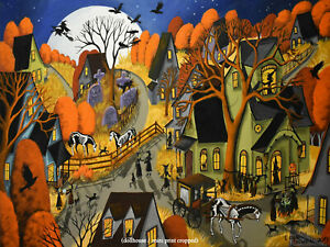 Print-of-folk-art-painting-village-witch-black-cat-town-ghost-horse-DC