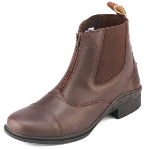 Leather Triple DOT Paddock Front Zip Horse Riding Boots Black Brown UK 5-8