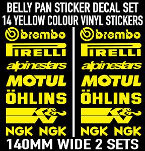 Fluorescent Belly Pan Motorbike Fairing Decal Stickers Set Yellow Green Orange