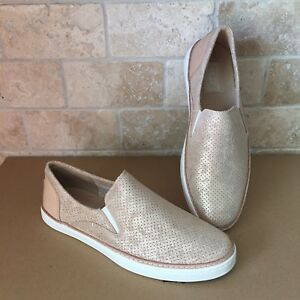 792dd72daa5 Details about UGG ADLEY PERF STARDUST GOLD LEATHER SLIP-ON SNEAKERS SHOES  SIZE US 11 WOMENS
