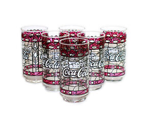 VINTAGE-NEW-12-OZ-COCA-COLA-TIFFANY-STYLE-STAINED-GLASS-SET-OF-6