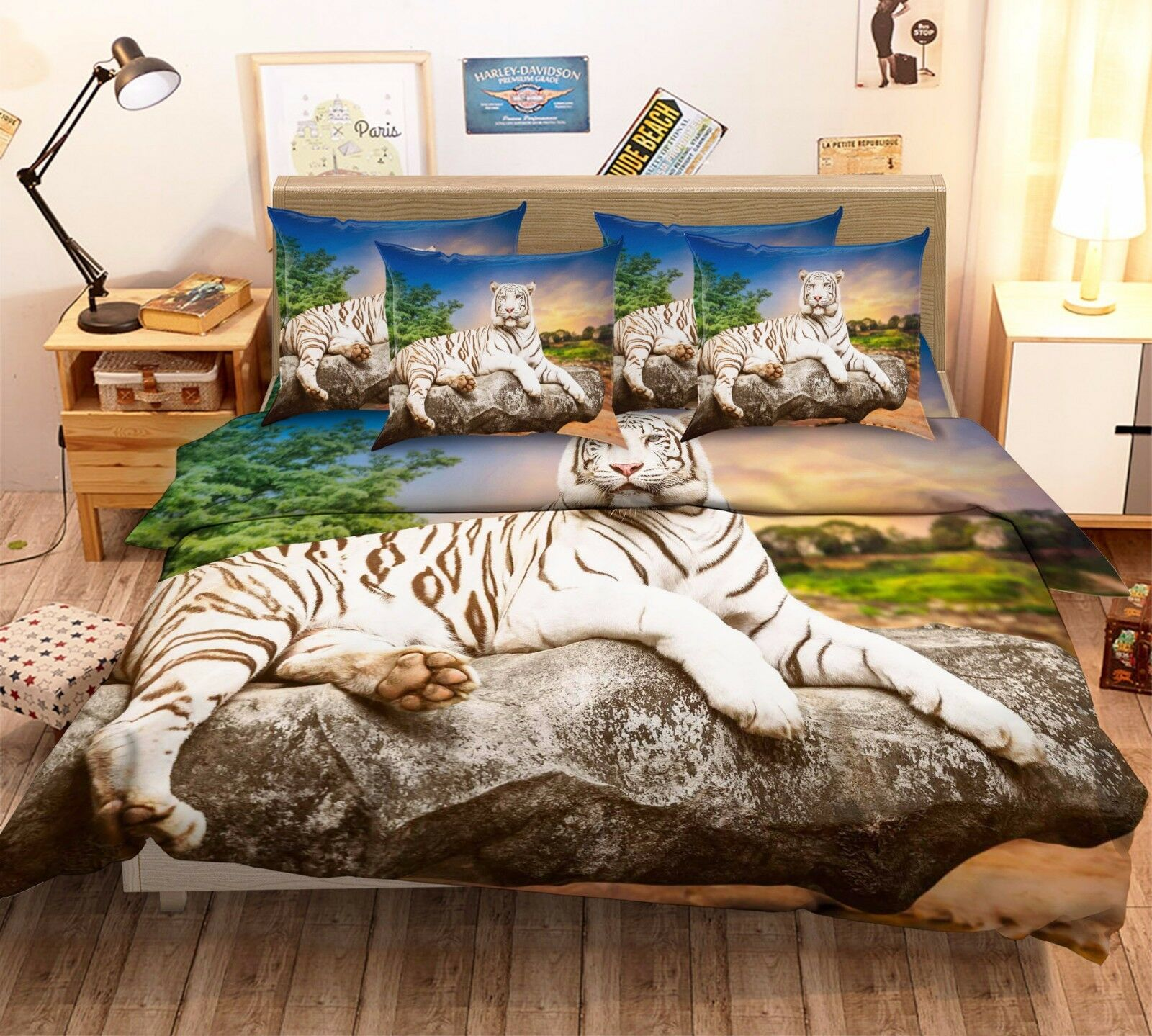 3D White Tiger Dusk 4 Bed Pillowcases Quilt Duvet Cover Set Single Queen King AU