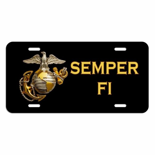 semper fi usmc marine corp license plate made in the usa metal car