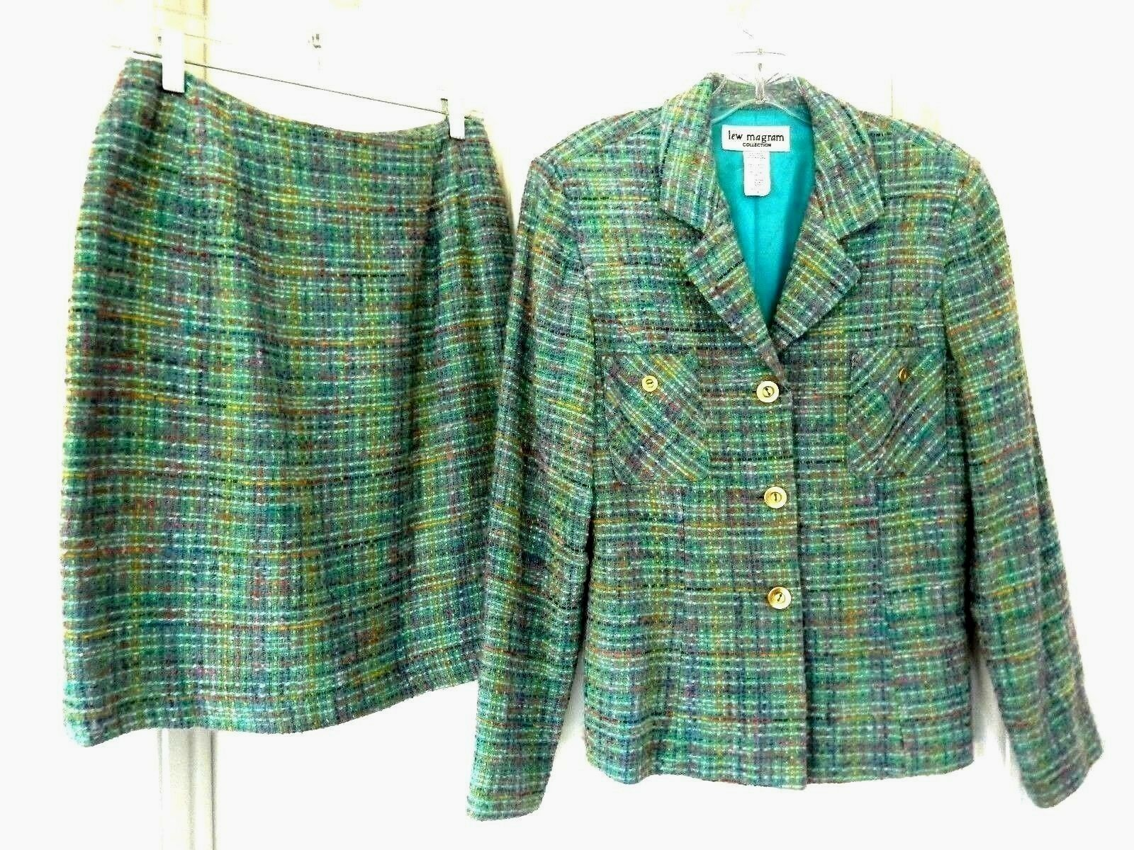 Vintage Lew Magram Collection Skirt Suit-8, bluee multi