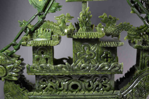 Exquisite Chinese 100/%Natural Jade Hand Carved Dragon Incense statue Dragon Ship