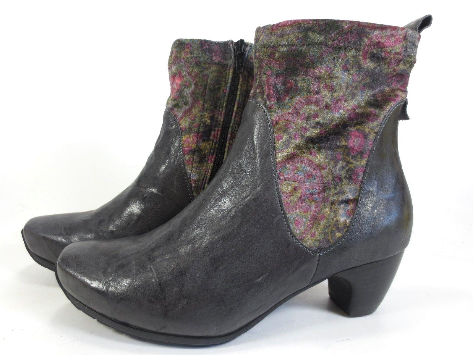 Tänk dig läderskor Ankle Stövlar Grå Färgstark sammet nyA nyA nyA tror  underbar